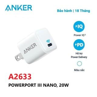 Củ sạc nhanh ANKER PowerPort III Nano 20W 1 cổng USB-C PiQ 3.0 tương thích PDA2633 - Hỗ trợ sạc nhanh 20W cho iPhone 11 12 Promax thumbnail