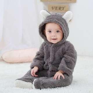 Bộ Áo Liền Quần Trẻ Sơ Sinh Trẻ Sơ Sinh Bằng Lông Cừu San Hô Dài Tay Ấm Áp Mùa Đông Dễ Thương Áo Liền Quần Hoạt Hình, Quần Áo Cotton Cho Trẻ Em 0-12 Bướm Đêm