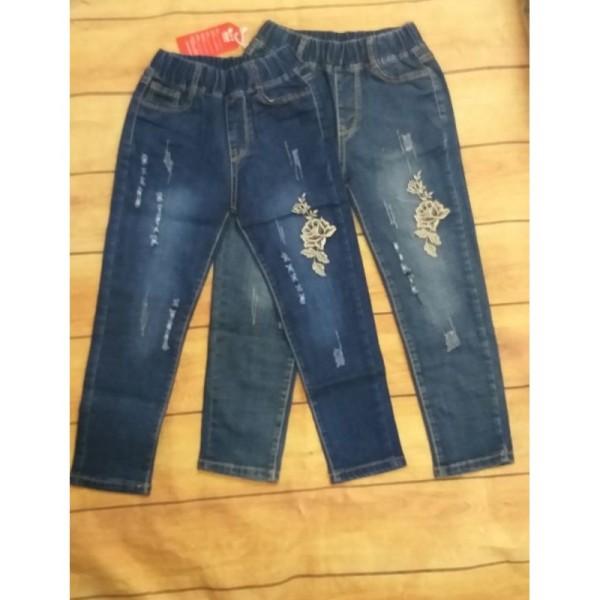 Quần bò jeans dài thêu hoa cho bé gái 17-24kg, mềm, co dãn nhẹ, form rất đẹp, chiều dài từ 64-72cm