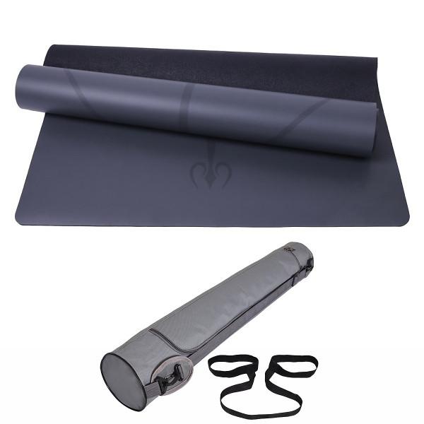 Thảm Tập Yoga Định Tuyến Da PU 5mm -Màu Xám+ Kèm Túi Đựng Cao Cấp và Dây Buộc Thảm Yoga Thảm Tập Gym Định Tuyến Da PU