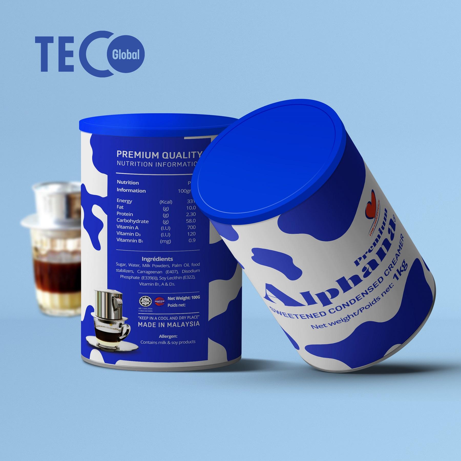 Sữa Đặc Có Đường Creamer Premium Alphana nhập khẩu Malaysia Lon 1kg Giàu Protein Vitamin A D3 B1