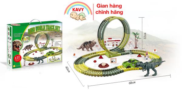 Bộ đồ chơi đường ray xe điện ô tô, khủng long lắp ráp nhiều chi tiết khác nhau (khủng long, đường ray, ô tô....)