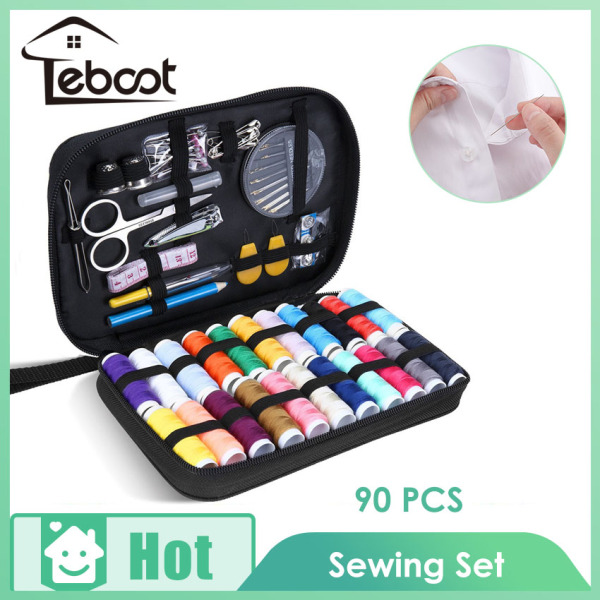 TeBoot Sewing Kit with 90 Sewing Accessories, 24 Thread Reels Sewing Tools Mini Sewing Kit for Beginners Traveller Emergency Family With Zipper Portable Case