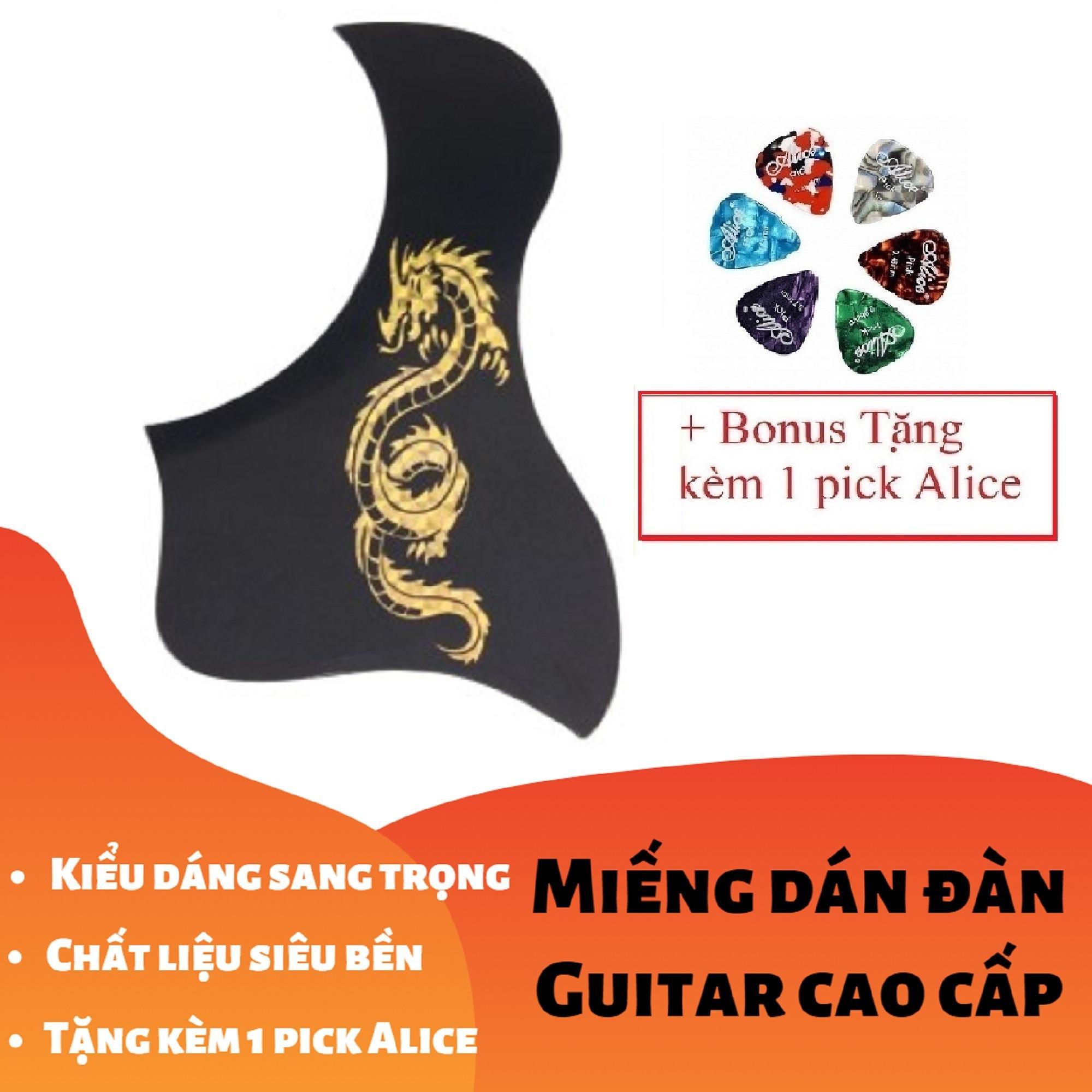 [RẺ GIẬT MÌNH] Miếng Dán Cao Cấp Trang Trí, Bảo Vệ đàn Ghi-ta 3D Rồng Thần Vàng Bạc (Guitar PickGuard) - Tặng Kèm 1 Pick Alice Có Giá Tốt