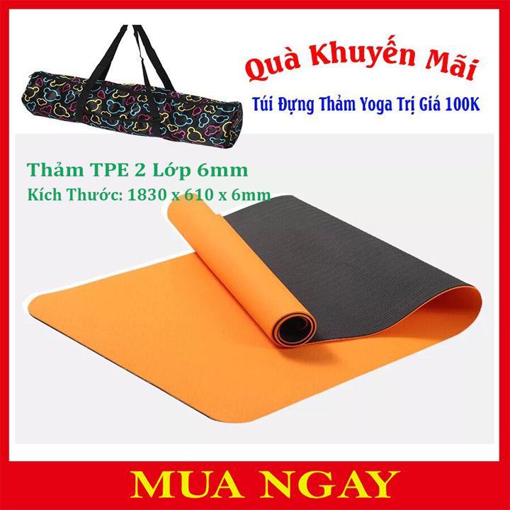 Bảng giá Thảm Tập Yoga 2 Lớp TPE 6mm Cao Cấp + Tặng Kèm Túi Và Dây Buộc