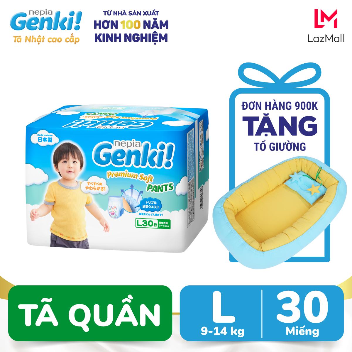 Tã quần Nhật cao cấp Genki L30 - Gói 30 miếng (Cho bé từ 9-14kg)