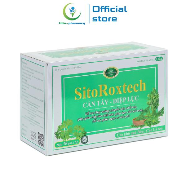 Cốm giảm cân SitoRoxtech Cần tây Diệp lục giảm mỡ máu, giảm nguy cơ béo phì - Hộp 30 gói cao cấp