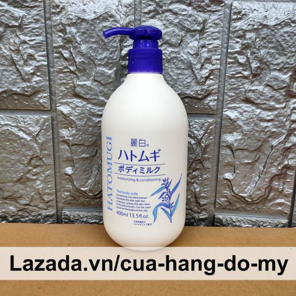 Sữa Dưỡng Thể Trắng Da Ý Dĩ Body Hatomugi The Body Milk 400ml - Moisturizing & Conditioning hỗ trợ dưỡng trắng toàn thân giá rẻ