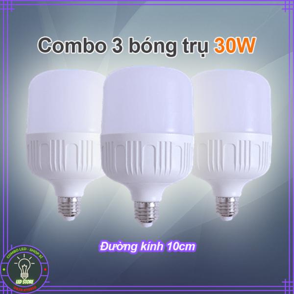 Combo 3 bóng đèn LED trụ tròn 30W - ánh sáng trắng siêu sáng tiết kiệm điện (đường kính 10cm - bảo hành 1 năm)