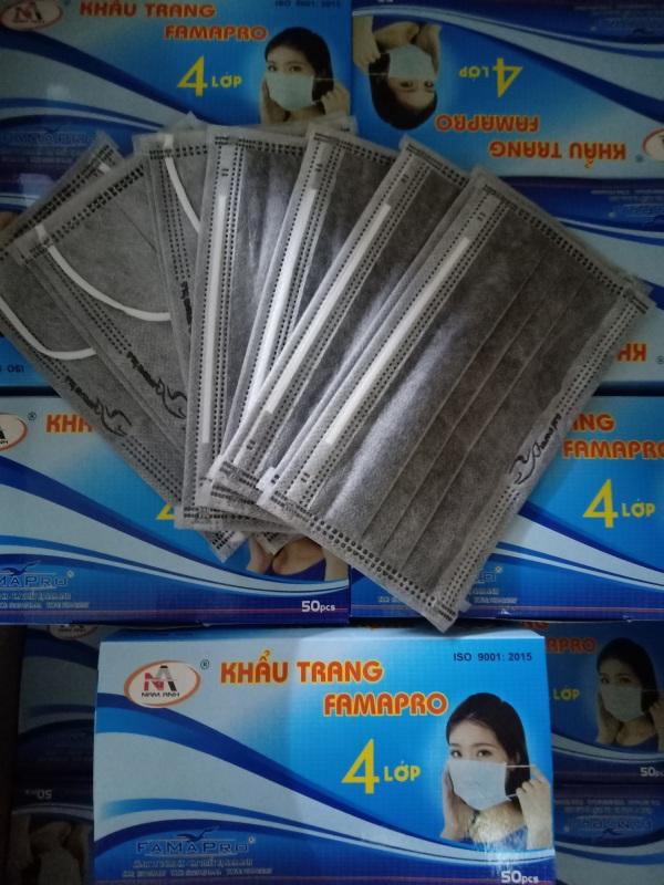 Hộp 50 cái khẩu trang y tế kháng khuẩn 4 lớp Nam Anh Famapro ( XÁM ) cao cấp