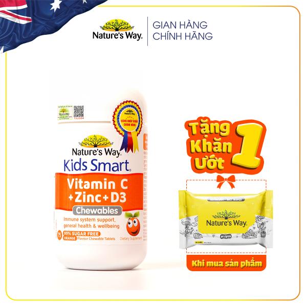 Viên Nhai Nature's Way Kids Smart Vitamin C+ZinC+D3 Chewable Tablets Bổ Sung Vitamin Cho Bé Phát Triển Toàn Diện 75 Viên cao cấp