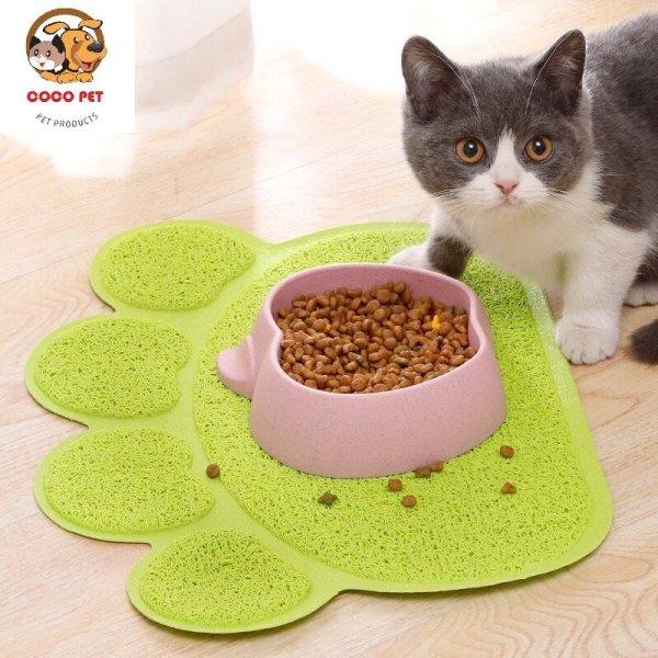 Thảm lót khay cát vệ sinh bát thức ăn cho mèo chống bắn cát thức ăn, giúp bạn tránh được việc vất vả dọn cát bị vãi khắp nhà sau khi em mèo iu đi vệ sinh xong