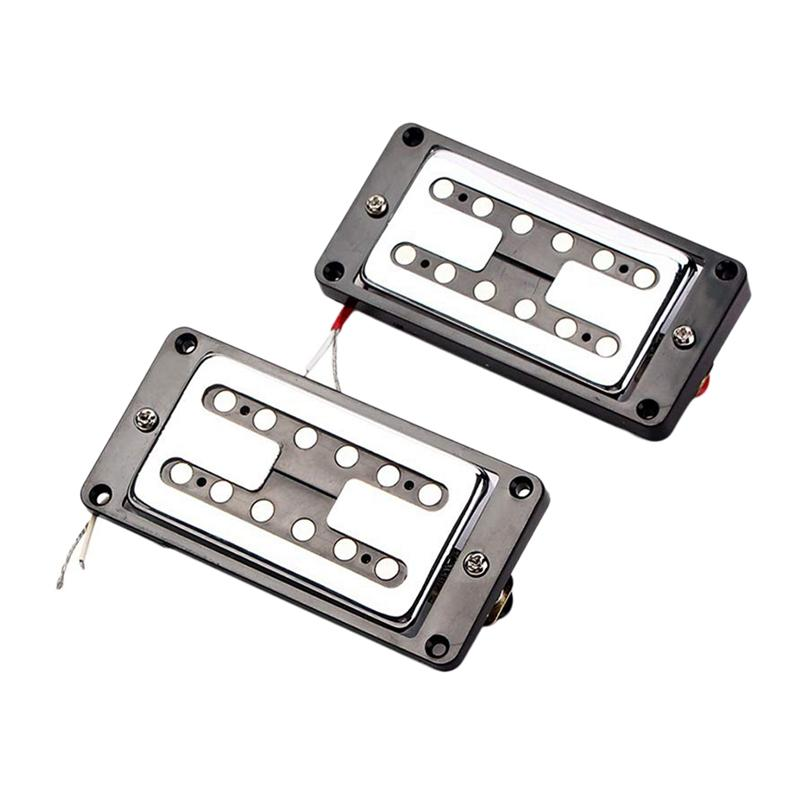 2Pcs Guitar Double Coil Humbucker Pickups Set For Electric Guitar Parts White With Black Frame