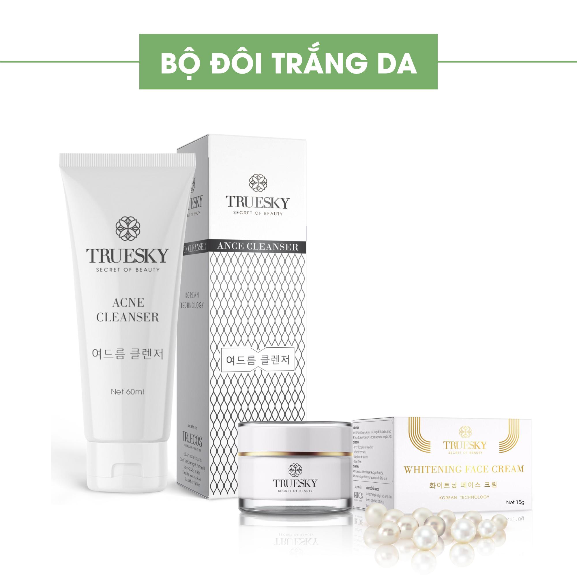 Bộ sản phẩm giảm mụn và dưỡng trắng da mặt Truesky gồm 1 sữa rửa mặt than hoạt tính 60ml & 1 kem dưỡng trắng da mặt 10g