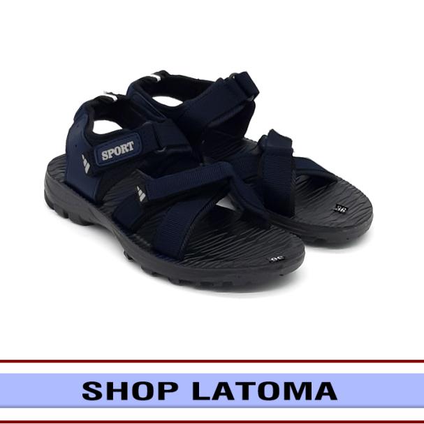 Giày Sandal nam nữ quai dù, giày xăng đan có quai hậu, học sinh sinh viên mang đều phù hợp và độc đáo vận động du lịch thoải mái kiểu dáng cổ điển thời trang cao cấp Latoma TA4782 (Xanh Đen) giá rẻ
