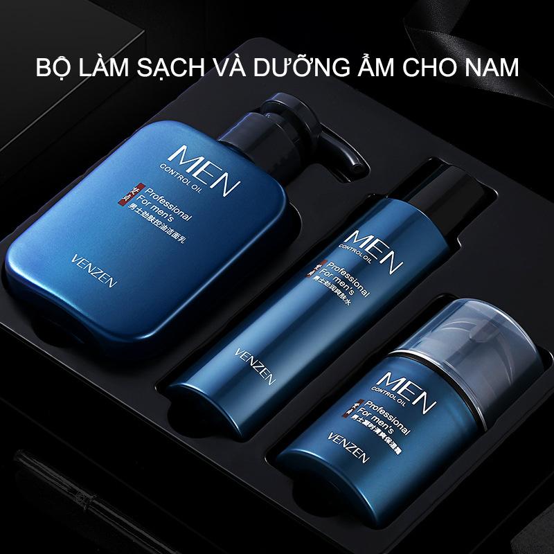 Bộ ba sản phẩm chăm sóc da cho nam, sữa rửa mặt + toner + lotion dưỡng ẩm giá rẻ