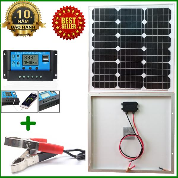 Tấm Pin năng lượng mặt trời đơn tinh thể Mono 35W tặng điều khiển sạc 30A 12V/24V LCD (công suất 360w) + kẹp bình acquy