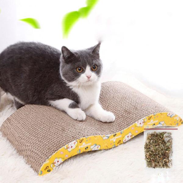 Bàn cào móng cho mèo hình lượn sóng (tặng kèm catnip), giúp móng mèo luôn trong hiện trạng thấp nhất