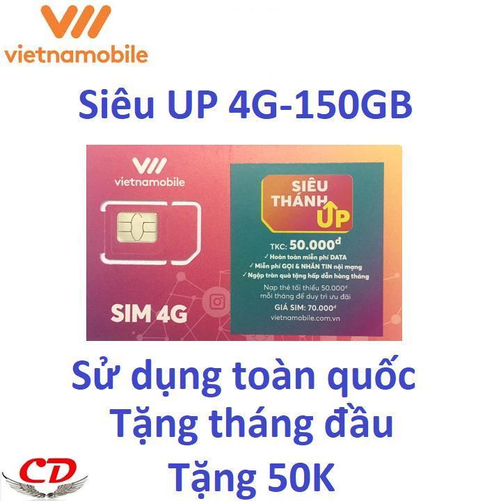 Siêu Thánh Sim UP- 4G VNMB Miễn Phí Max 150GB Data-upxanh-CK Siêu Khuyến Mãi