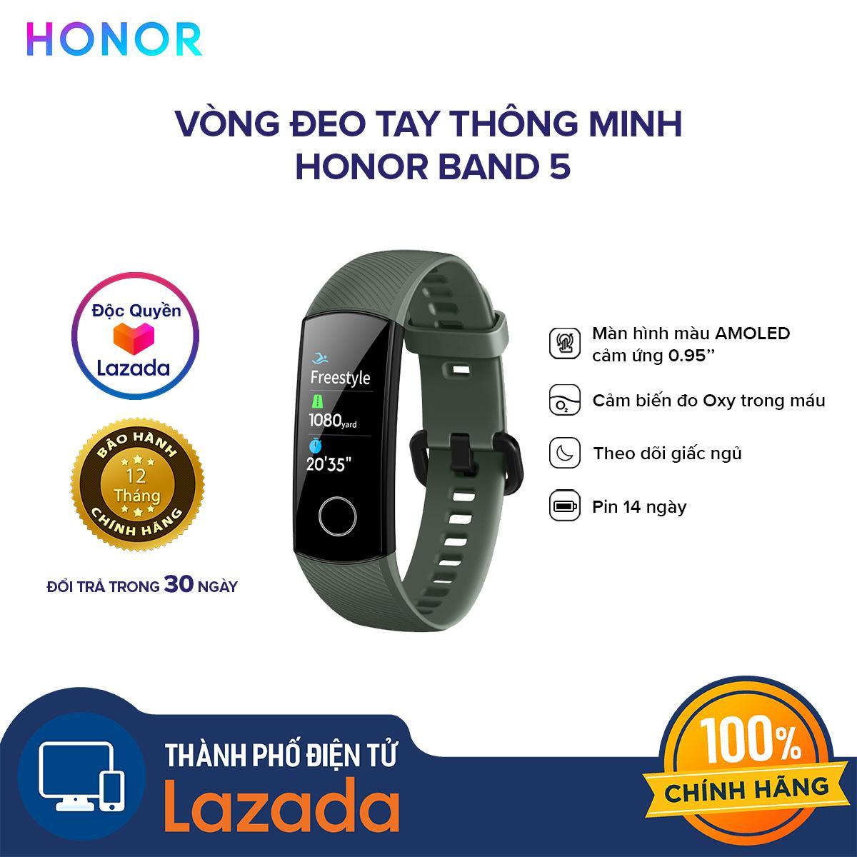 Giá [HÀNG CHÍNH HÃNG - ĐỘC QUYỀN LAZADA] Vòng đeo tay thông minh Honor Band 5  - Chức năng đo Oxy trong máu SpO2 - Màn hình AMOLED - 10 chế độ thể thao - Chống nước 50M
