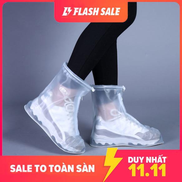 Ủng đi mưa chống trượt dày dặn; Ủng đi mưa nam nữ chất liệu PVC trong suốt lồng ngoài giày dép trống trượt giá rẻ