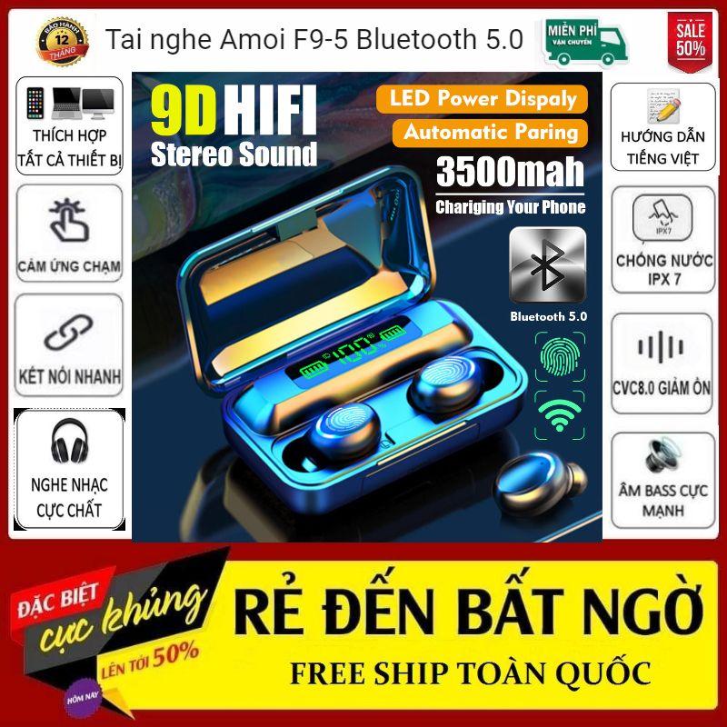 Tai Nghe Bluetooth Không Dây F95 Nhét Tai Pin 3500 maH Micro HD, Chống Nước - Tai Nghe Bluetooth 5.0 - Tai nghe bluetooth pin trâu - Tai nghe nhét tai không dây bluetooth, Tai nghe bluetooth không dây pin trâu