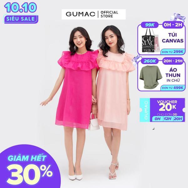 Nơi bán Đầm nữ  suông bèo ngực mẫu mới GUMAC DB889