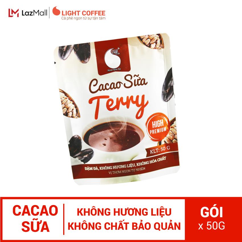 Bột Cacao sữa hòa tan 3 in 1 Terry Light Cacao thơm ngon và tiện lợi, dùng pha uống ngay , đặc biệt không pha trộn hương liệu - gói 50g