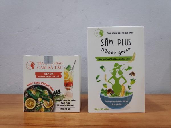 Sâm Plus SBody Green _Giảm Cân  + tặng kèm trà hồng đào