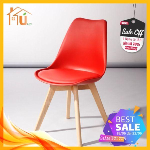 Ghế Eames chân gỗ sồi lưng nhựa lót đệm , nhập khẩu trực tiếp , ghế cafe , ghế ăn hiện đại , ghế văn phòng , Mẫu mới 2020