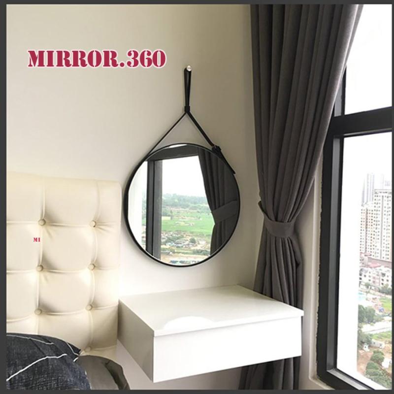 (Size 60cm) Gương Tròn Treo Tường Viền Da Simili (Màu Đen). Tặng kèm phụ kiện treo gương.