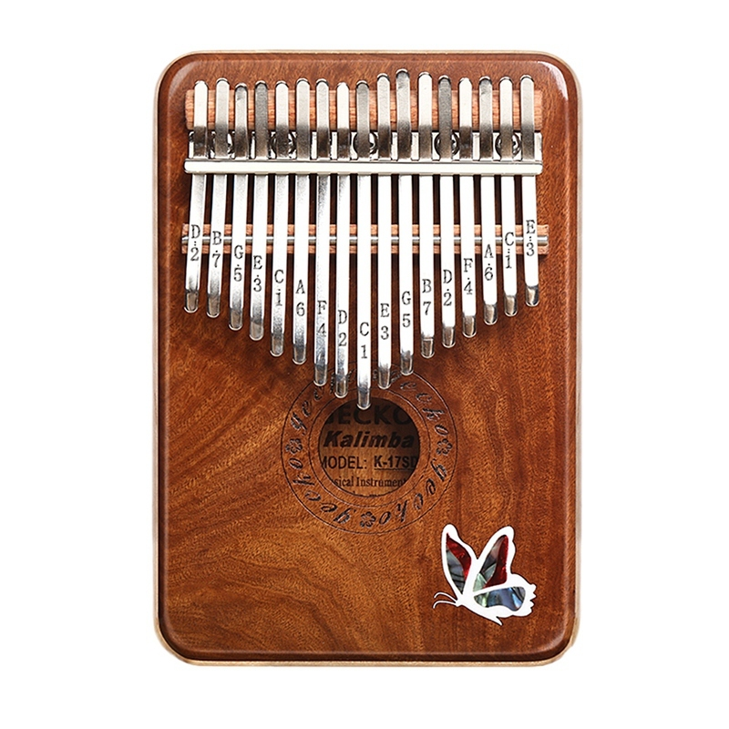 GECKO 17 Key Kalimba K17SD Thumb Piano Solid Red Sandalwood Musical Instrument for Kids Adult Gift