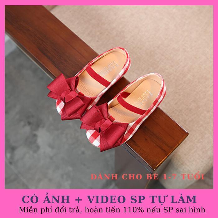 Giá bán Giày búp bê bé gái gắn nơ xinh xắn phong cách Hàn Quốc màu đỏ kẻ sọc dành cho bé 1-6 tuổi