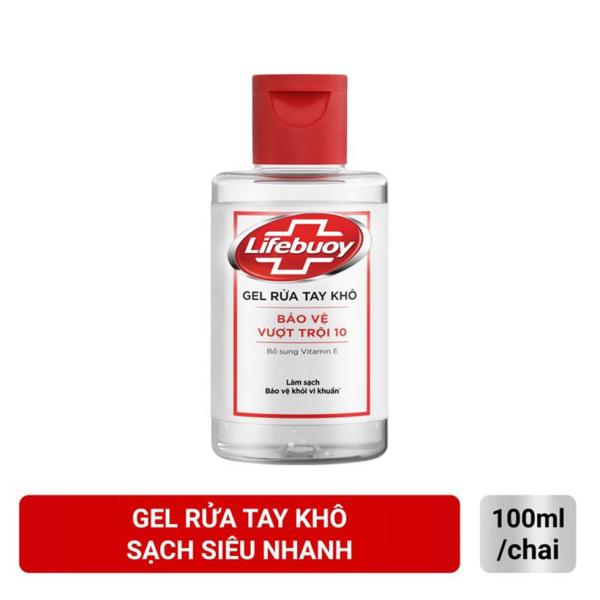Gel rửa tay khô sạch siêu nhanh Lifebuoy Bảo Vệ Vượt Trội 10 (Chai nắp 100ml) nhập khẩu