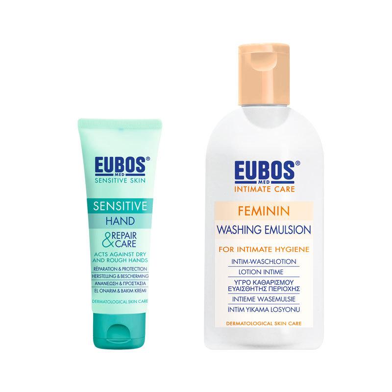 Combo kem dưỡng da tay nhạy cảm EUBOS 75ml + dung dịch vệ sinh phụ nữ EUBOS 200ml nhập khẩu