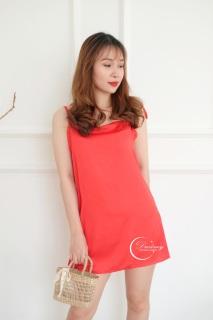 Dreamy - VS12-26 Váy ngủ lụa cao cấp dáng suống hai dây cột nơ vai màu đỏ gợi cảm, quyên rũ thumbnail