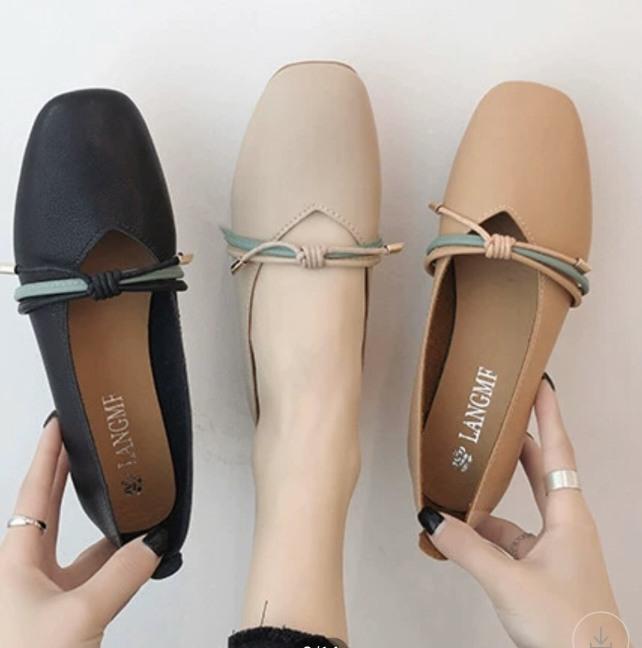 [OD8] Giày bệt búp bê nữ đế bằng da mềm mũi vuông thắt nơ vintage hàng QC cao cấp - Kèm hình thật giá rẻ