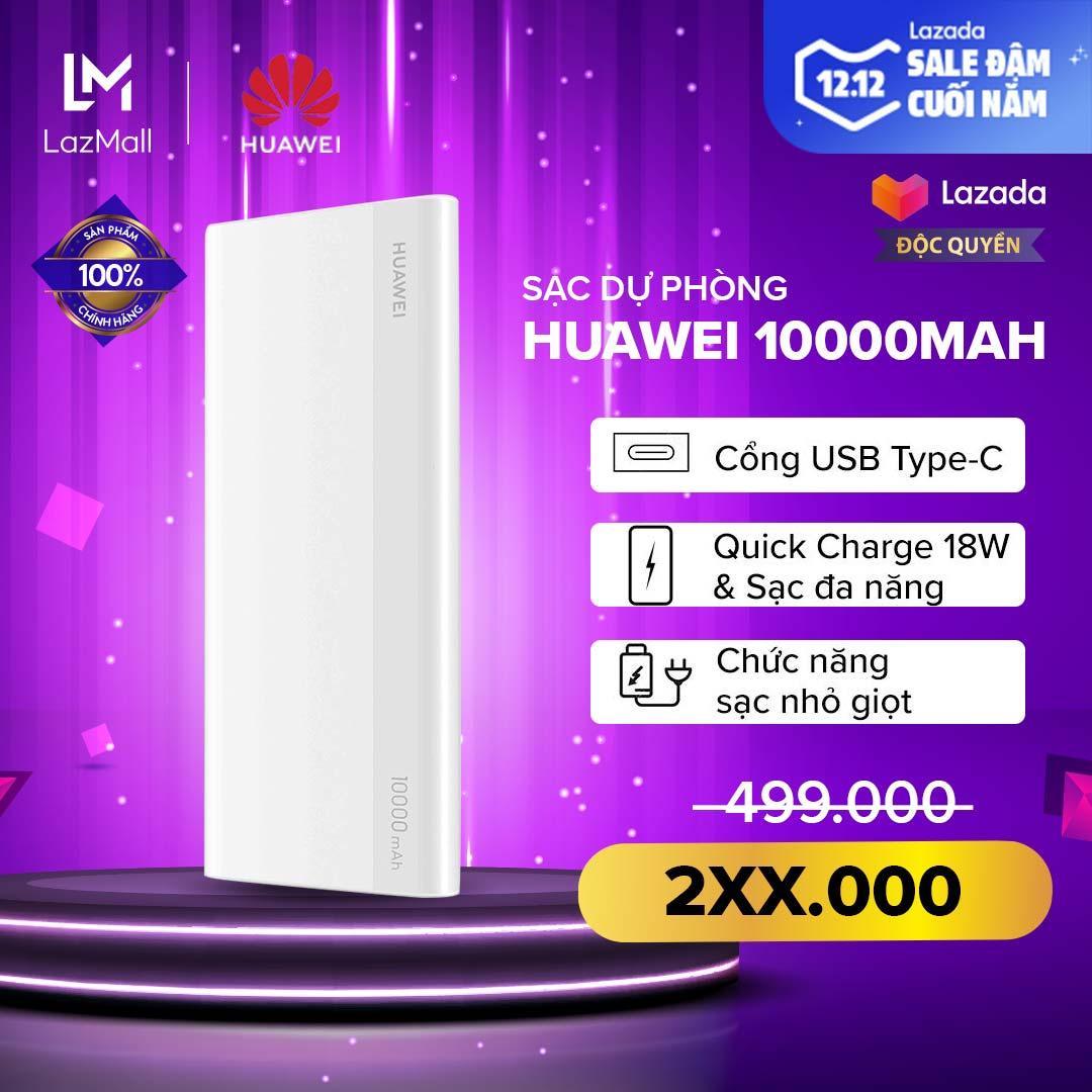 Deal Ưu Đãi [HÀNG CHÍNH HÃNG - ĐỘC QUYỀN LAZADA] Sạc Dự Phòng Huawei 10.000mAh - Sạc Nhanh 18W (Input / Output) - Cổng Sạc Type-C - Pin Lithium Polyme - Chế độ Sạc Nhỏ Giọt