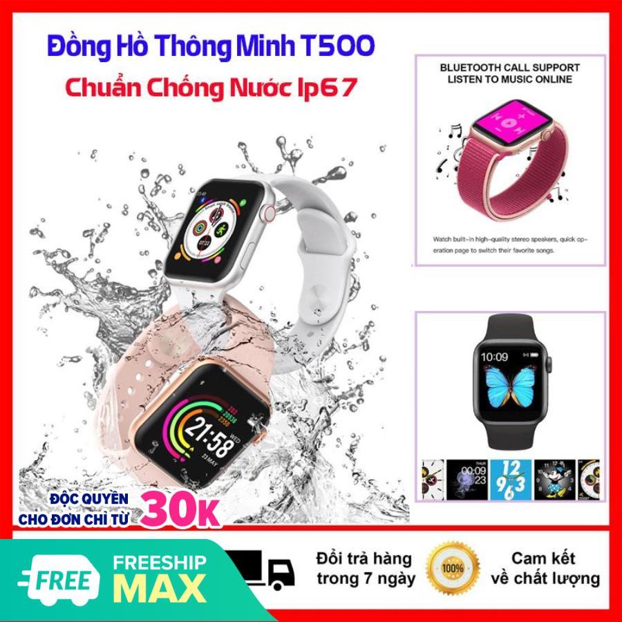 Đồng hồ thông minh, Đồng hồ thông minh T500 Smart Watch seri 5 - Chống nước, Nghe gọi, hiển thị thông báo các ứng dụng, chống nước - Theo dõi sức khỏe, đo nhịp tim, huyết áp, bước đi, BH 1 Đổi 1