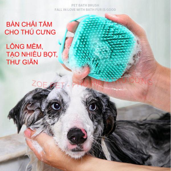 Bàn chải tắm cho chó mèo, có chỗ đổ sữa tắm tạo bọt, lông mềm, matxa cho chó mèo thư giãn