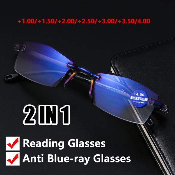 Giá bán A5TG Siêu nhẹ Không vành Cắt kim cương Kính bảo hộ máy tính Chống tia xanh Kính mắt lão thị Kính đọc Bảo vệ bức xạ