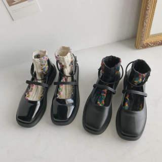 Giày Đế Bệt Nữ Hiệu Aurora. An Giày Nữ Mary Jane Nhật Bản Giày Cao Gót Đế Thấp Đa Năng Giày Mũi Tròn Màu Đen