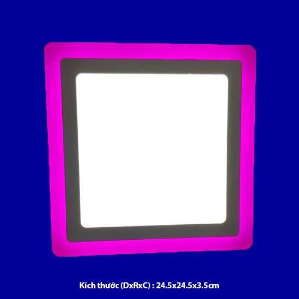 Đèn led nổi ốp trần 24w vuông 2 màu 3 chế độ