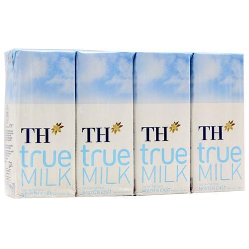 Sữa tươi tiệt trùng nguyên chất TH True Milk hộp 180ml (1 lốc 4 hộp)