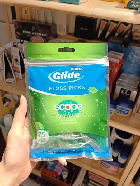 Gói 75 cây tăm nhựa và chỉ nha khoa Oral-B Complete Glide Plus Scope Outlast Floss Picks 75 Count nhập khẩu