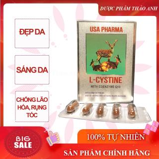 Viên uống đẹp da L-Cystine USA Pharma chưa 500mg L- Cystine giúp làm đẹp da, bổ sung dưỡng chất giúp da giảm nám, tàn nhang, ngăn ngừa gãy rụng tóc, kích thích mọc tóc hộp 60 viên HSD 2024 thumbnail