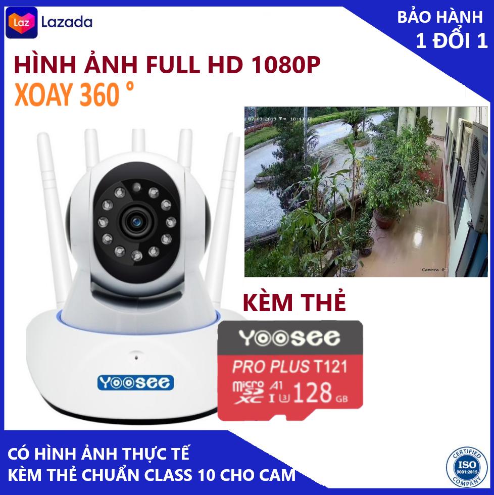 Camera - Camera wifi - Camera yoosee 5 râu kèm thẻ nhớ 128gb hiển thị 2.0 mpx cảnh báo chuyển động, có tiếng việt, kết nối dễ dãng bảo hành 3 năm 1 đổi 1 trong 7 ngày (Lưu ý có 2 mã sản phẩm kèm thẻ và chưa kèm thẻ )