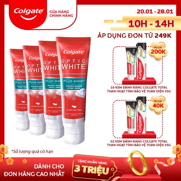 Bộ 4 Kem đánh răng Colgate Optic White Plus Shine làm trắng răng & sáng răng 100g nhập khẩu