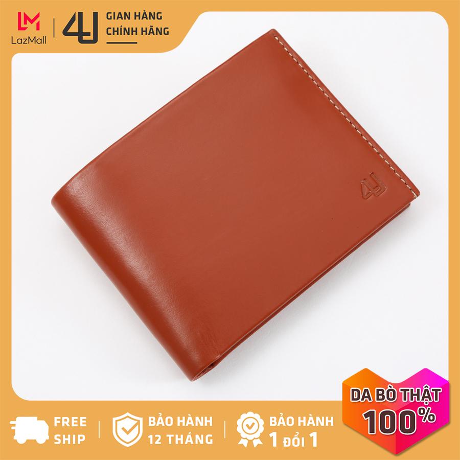 Bóp ví nam da bò thật 4U cao cấp dáng ngang, có nhiều ngăn đựng tiền và thẻ tiện dụng FA227