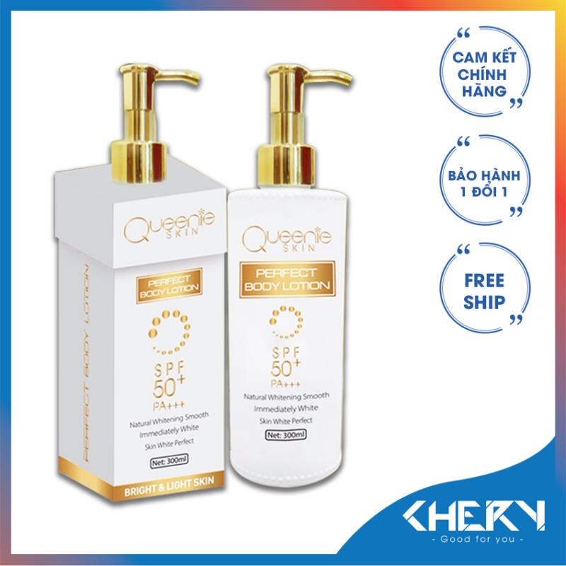 Body truyền trắng chân lông- Queenie Skin 300ml - PERFECT BODY LOTION (Tặng túi đựng mỹ phẩm 48k)